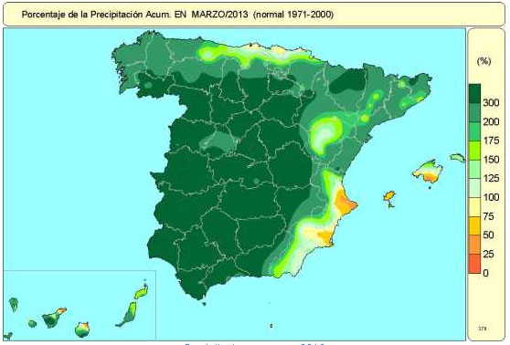 Precipitaciones marzo Denia