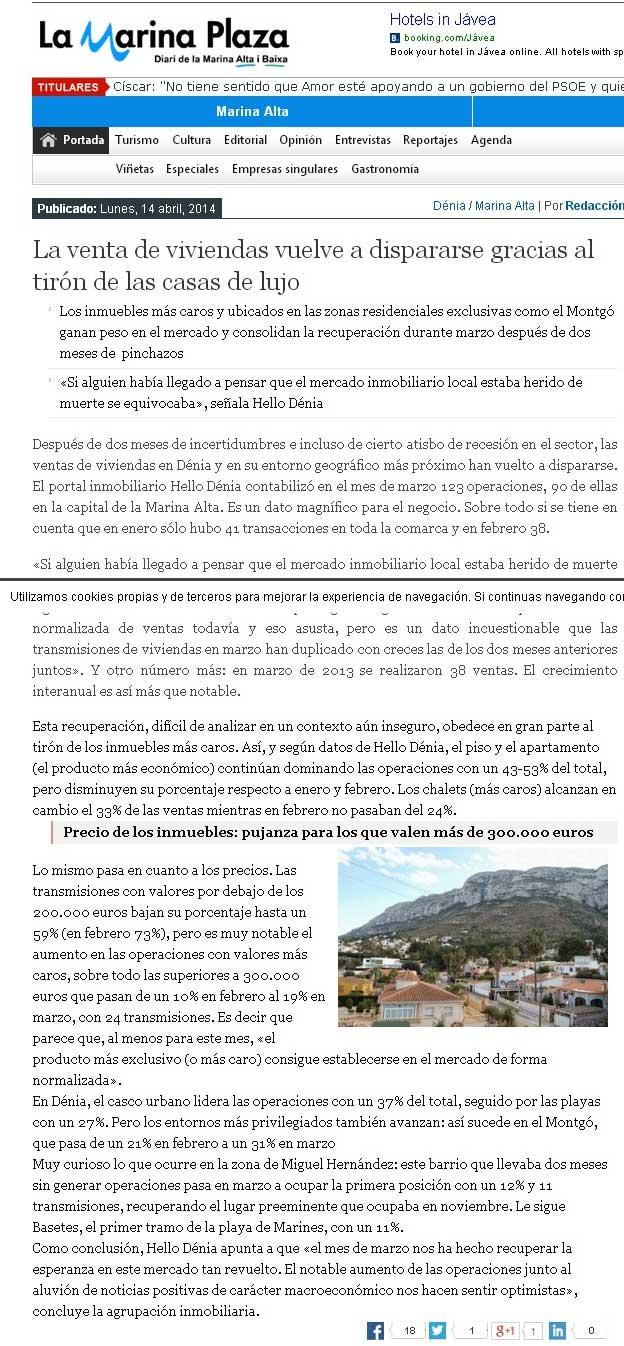 Nuestro portal hellodenia en prensa la marina plaza for Portal de inmobiliarias